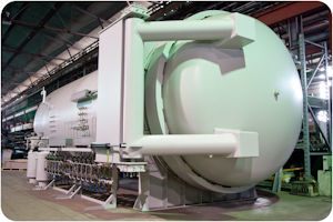 Photo of a new Taricco Corporation 8 foot diameter autoclave